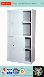 Steel High Storage Cabinet Office Furniture with Steel Upper Double Sliding Steel Framed Glass Doors and Lower Double Sliding Doors Cabinet for Us Market pictures & photos