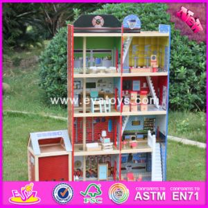 2017 Wholesale Baby Wooden Fire Station, New Design Kids Wooden Fire Station, Top Fashion Children Wooden Fire Station W06A138 pictures & photos