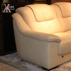 Top Grain Beige Leather Sofa with Chaise (1613A) pictures & photos