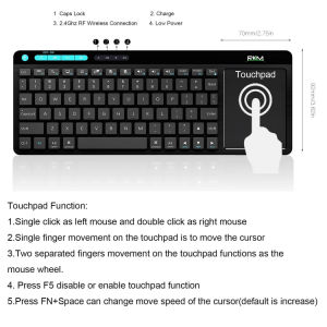 Rkm K8 Wireless Keyboard with Build-in Large Size Touchpad Mouse, Rechargable Li-ion Battery, for PC,Google Smart TV,Kodi,Raspberry Pi2/3, HTPC IPTV,Android Box pictures & photos