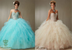 Crystal Beading on a Ruffled Tulle Ball Gown Prom Dress