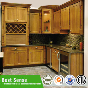 Solid Wood Classic Modular Kitchen Cabinet pictures & photos