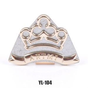 Customized Logo Decoration Metal Label with Crown Shape for Coat/Pants/Bag