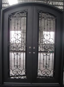 Arch Top Wrought Iron Double Entry Door pictures & photos