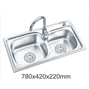 New One Piece Ss304 Stainless Steel Double Bowl Kitchen Sink (YX7842)