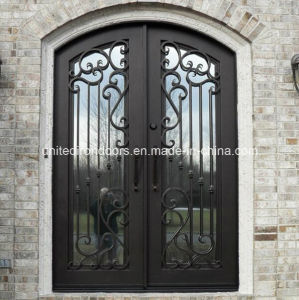 China Factory Direct Wrought Iron Double Entry Door (UID-D012) pictures & photos