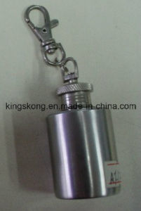 1oz Mini Stainless Steel Hip Flask with Laser Engraving Logo and Keychain pictures & photos