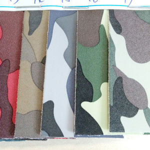 Camouflage Yangbuck Artificial Leather for Shoes Material (SHT014) pictures & photos