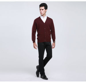 Yak Wool/Cashmere V Neck Cardigan Long Sleeve Sweater/Garment/Clothes/Knitwear pictures & photos