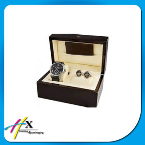 Leather Watch and Cufflink Case Packaging Wooden Display Box pictures & photos