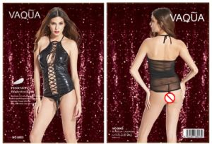 Halter Sexy Lingerie Black Lady Bodysuit in PU pictures & photos