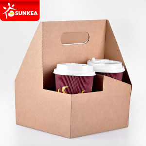 Custom Printed Cardboard 4 Pieces Coffee Cup Drink Carriers pictures & photos