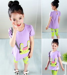 Girl′s Two-Piece Summer Short Sleeve Casual Sports Suit pictures & photos