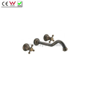 Dule Handle Wall Mounted Antique Brass Bathtub Faucet (QH001-22A) pictures & photos