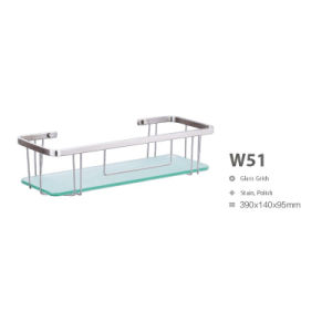 Rectangle Stainless Steel Bathroom Corner Glass Shelf (W51) pictures & photos