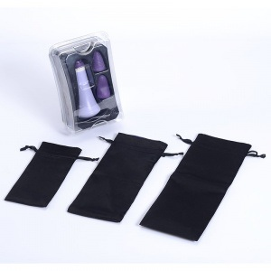 Black and Violet Both-Side Drawstring Satin Pouches for Vibrator pictures & photos