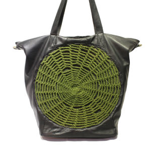 Original Hand-Woven Cotton and Line Bag Travel Genuine Leather Lady Handbags
