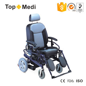 High End PU Seat Electric Steel Wheelchair with Reclining Back pictures & photos