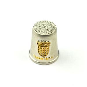 Metal Thimble Souvenir with Gold Plated Logo pictures & photos