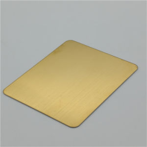 304 Stainless Steel Gold Color Sheet No. 4 Brushed Finish Decorative Metal Panel pictures & photos
