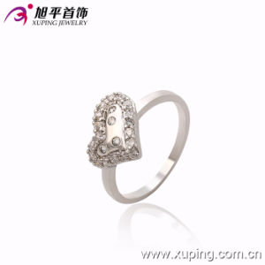 Fashion Women Elegant Heart-Shaped Silver -Plated Jewelry CZ Crystal Finger Ring -10122 pictures & photos