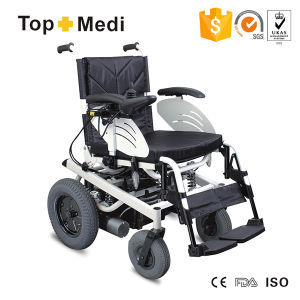 Topmedi Powder Coating Steel Electric Power Wheelchairs with Light pictures & photos