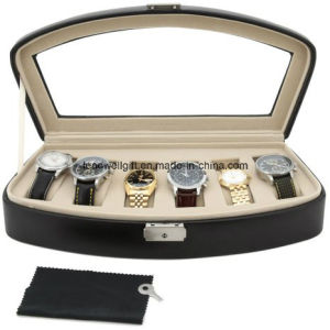 Watch Box Storage Case for 6 Watches Black Leather Lock pictures & photos