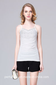 Hot Sell Womens Voile Singlet with Rhinestone on Chest pictures & photos