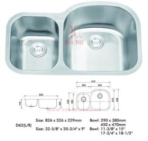 Stainless Steel Kitchen Sink, Doulbe Bowl (LD62) pictures & photos