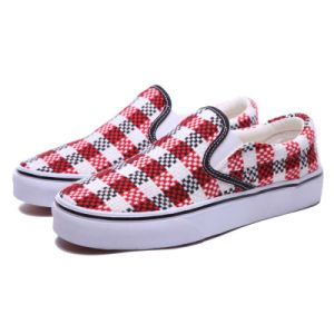 New Design Red/White Woven Style Shoe with Vulcanized Rubber Sole pictures & photos