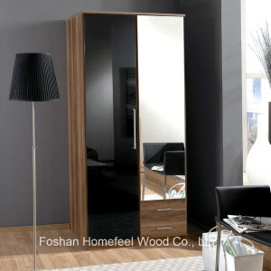 Wooden High Gloss 2 Door Mirrored Combi Wardrobe (WB02) pictures & photos