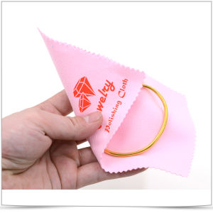 Customized Logo Offset Printed Microfiber Cleaning Cloth for Jewelry Polishing pictures & photos