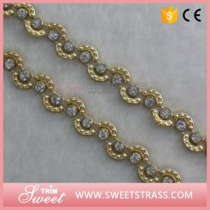 Gold Trimming Rhinestone Ribbon Tape for Kids Dress pictures & photos