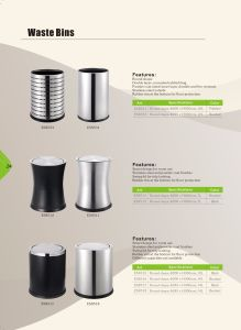 Powder Coat Finish Hotel Trash Can with Rubber Rim pictures & photos
