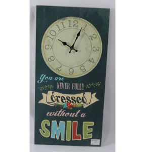 Wood Wall Plaque with Clock - Smile