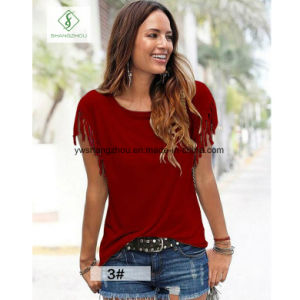European Big Size Short Sleeved Cuffs with Tassels Ladies T-Shirt pictures & photos