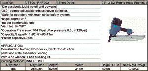 Pneumatic Tools Round Head Framing Nailer Rhf9021 pictures & photos