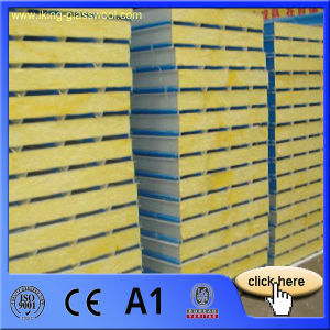 Fireproof and Insulated Metal Faced Fiber Glass Wool Sandwich Panel for Wall Board pictures & photos