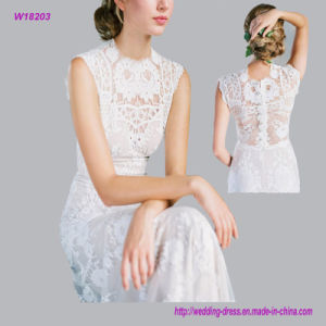 Sleeveless Floral Lace with Chapel Length Train Wedding Dress pictures & photos