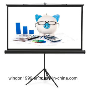 """84"""" Floor Standing Portable Tripod Manual Projector Screen 4: 3 pictures & photos"""