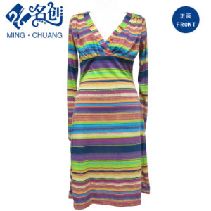 Multicolour Horizontal-Strips Long-Sleeve Decussate V-Neck Sexy Fashion Ladies Dress pictures & photos