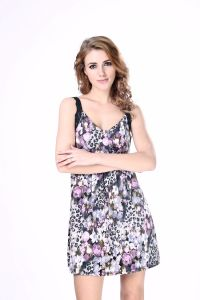 Latest Sexy V Neck Open Back Floral Rompers Trapeze Printed Dress pictures & photos