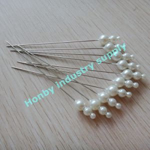 High Quality Popular Candy Cream Plastic Triple Pearl Head Pin pictures & photos