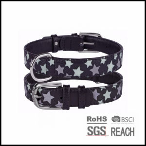 Black Leather Reflective Print Pet Dog Puppy Collar pictures & photos