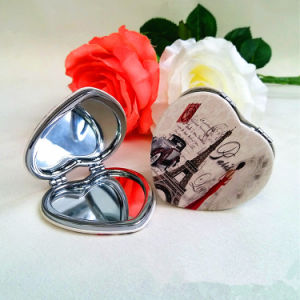 Commerce Advertising Gift- Makeup Cosmetic Portable Pocket Heart PU Mirror pictures & photos