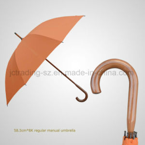Rainshade Regular Manual Wooden Crook Handle Umbrella pictures & photos