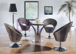 PE Rattan Bar Furniture with Rotary Chairs and Round Table pictures & photos