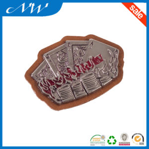 Branded Leather Patches PU Leather Patch with Metal Label pictures & photos