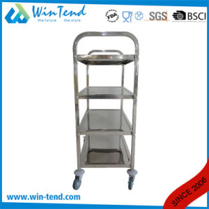 Square Tube 4 Tiers Hand Push Movable Tea Drinking Trolley in Small Size pictures & photos
