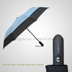 Windproof Double Layer Umbrella 2 Section Automatic Open&Close Umbrella pictures & photos